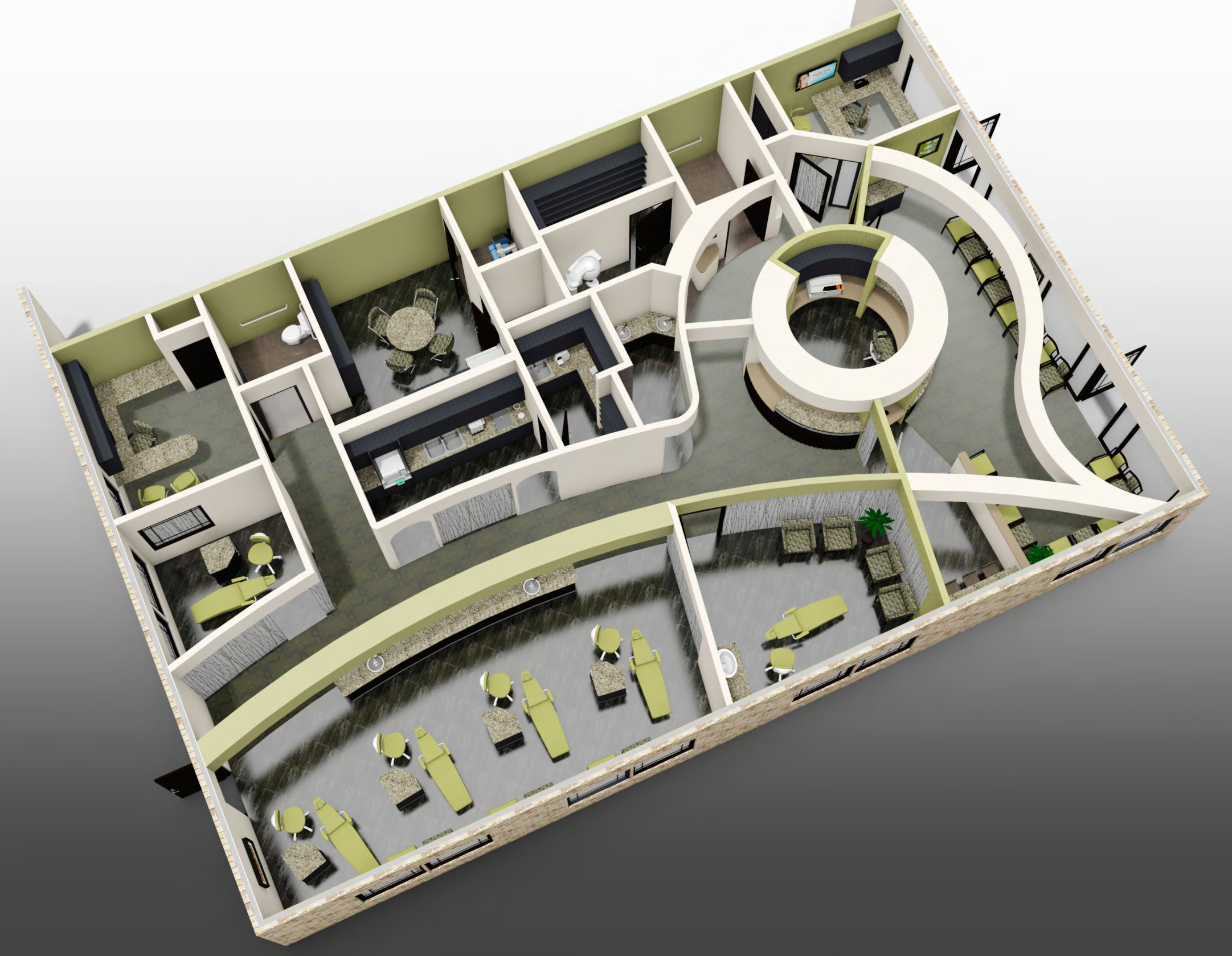 Dental Office Layout 3D Rendering