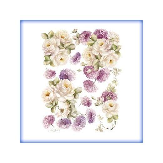 carta da decoupage cm 30x42 rose bianche con ortensie