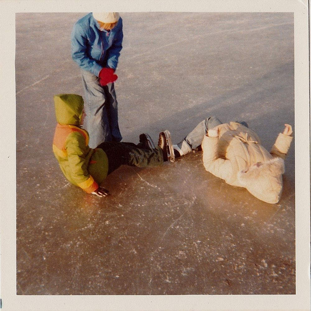 Old Vintage Photograph Little Children Fallen Down From Ice Skating