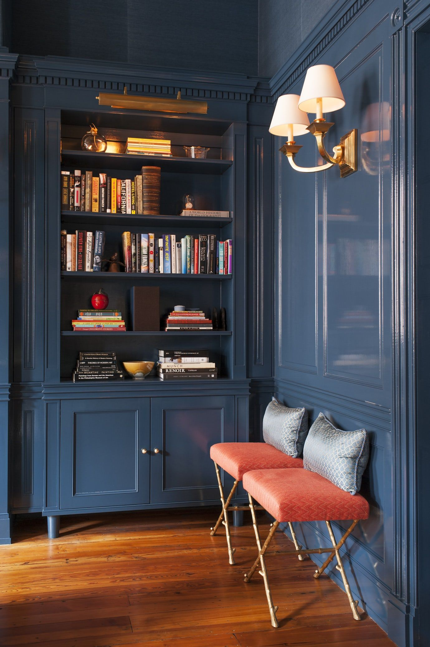 Classic Home Library Design: Library In High Gloss Blue Millwork Details + Library