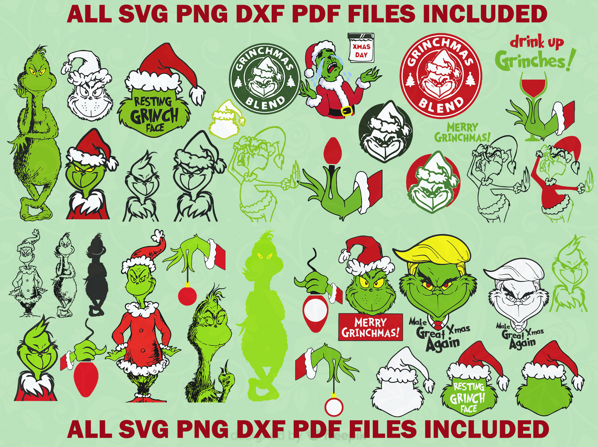 The grinch svg bundle, The grinch face, The grinch hand