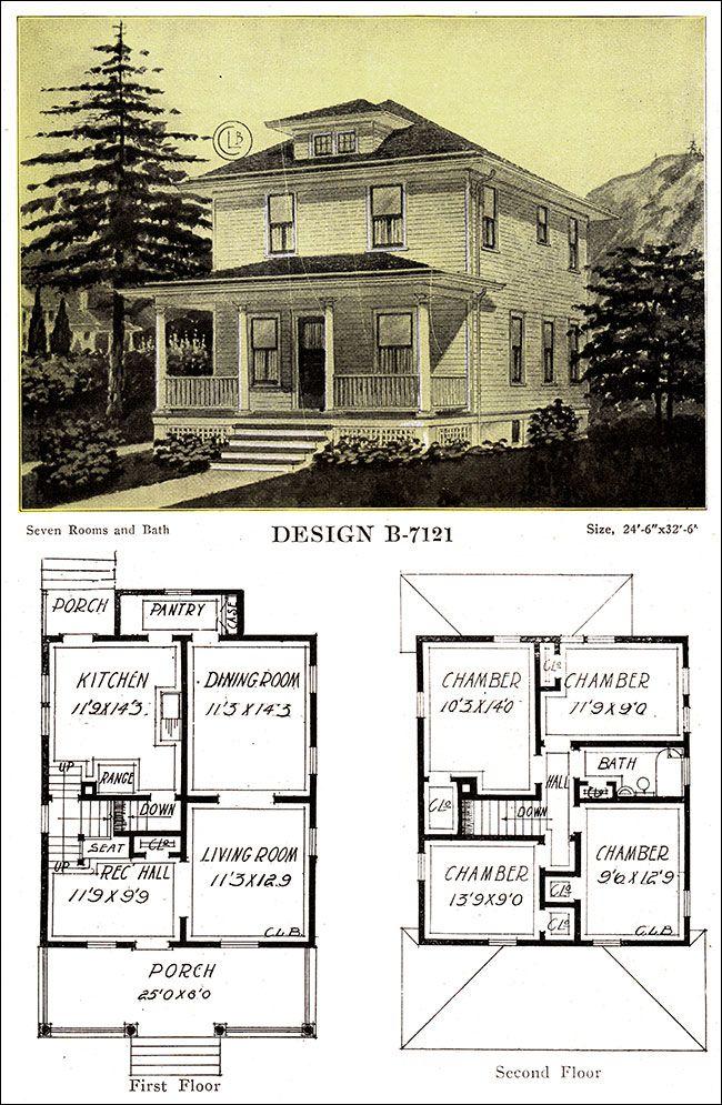1918 Free Classic Foursquare C L Bowes Chicago Four Square Homes Vintage House Plans House Floor Plans