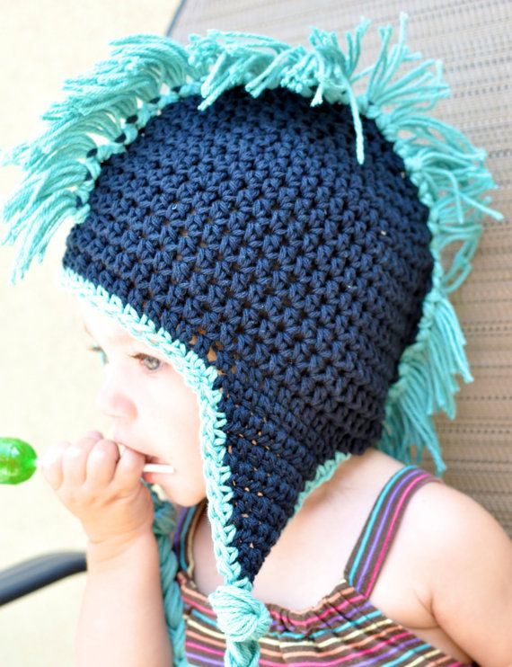 Crochet Mohawk Beanie with earflaps- Green and Yellow | Cutest baby ...