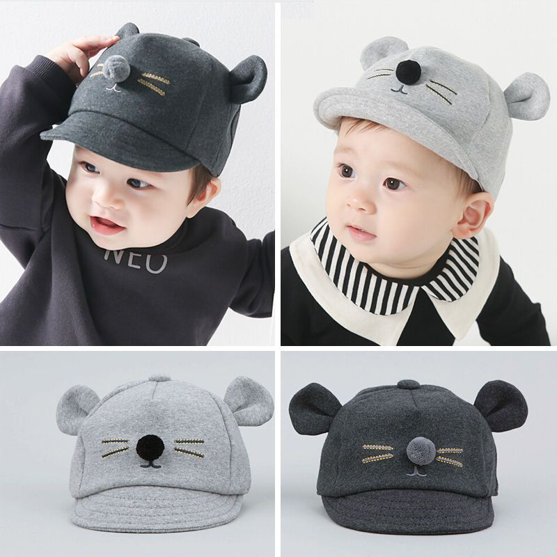 Children Baby Kids Girl Boys Sun Hat Cartoon Little Cat Ear Beanie Baseball Cap