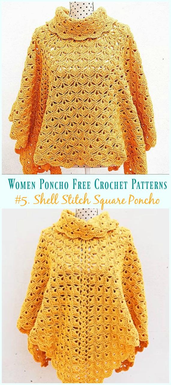 Shell Stitch Square Poncho Crochet Free Pattern Video- Women Poncho