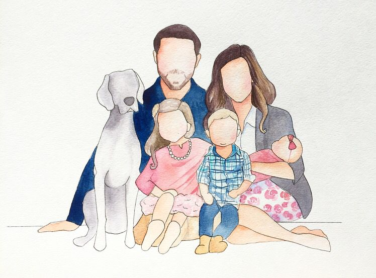 Faceless Family Portrait With A Dog 30 And Up For Custom