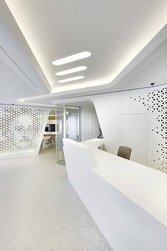 Slick And Futuristic Interiors Of The Raiffeisen Banks Flagship Offices In Zurich A Very Cool Way Banking Win An Design Office Bedrooms