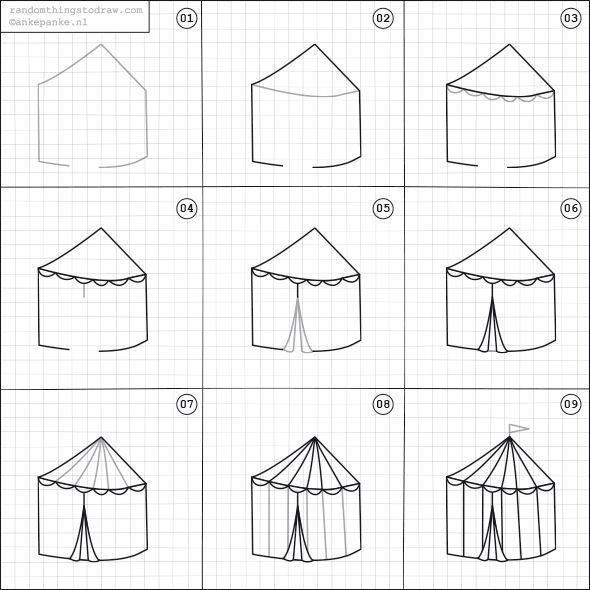 How To Draw A Circus Tent Easy Drawings Tent Drawing Doodle Drawings