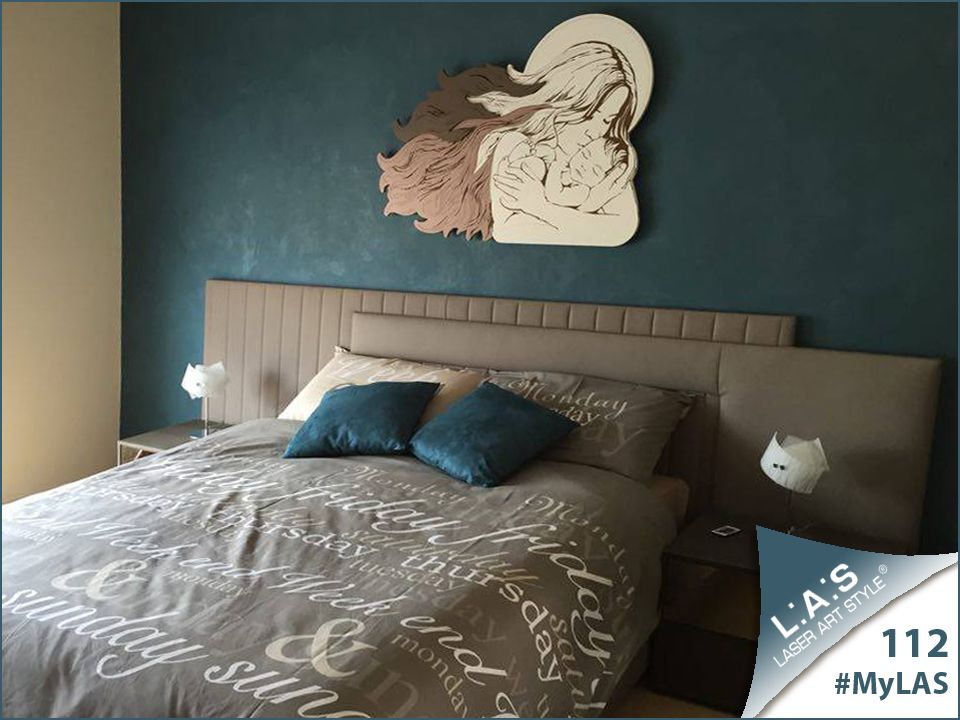 #MyLAS Welcome to Salvuccio's #home! #bedroom #design #homeinspiration #interiors http://www.laserartstyle.it/home/gallery/my-las/ SACRED WALL SCULPTURES   CODE: SI-273   SIZE: 110x80 cm   COLOUR: white-powder-dove grey/wood engraving