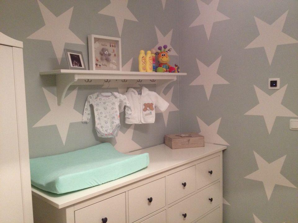 Babykamer Behang Groen : Sterren behang mint groen voor een meisje of jongen babykamer