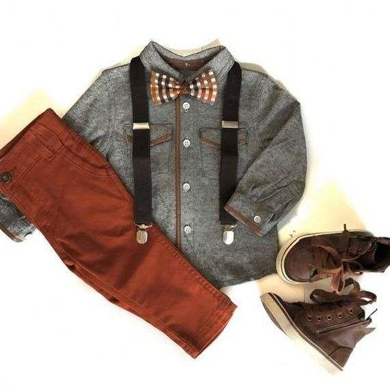 Boys Fall Plaid Bow Tie & Brown Suspenders Sets--PERFECT for Family Pictures, Baby Boy Gift, Page Bo