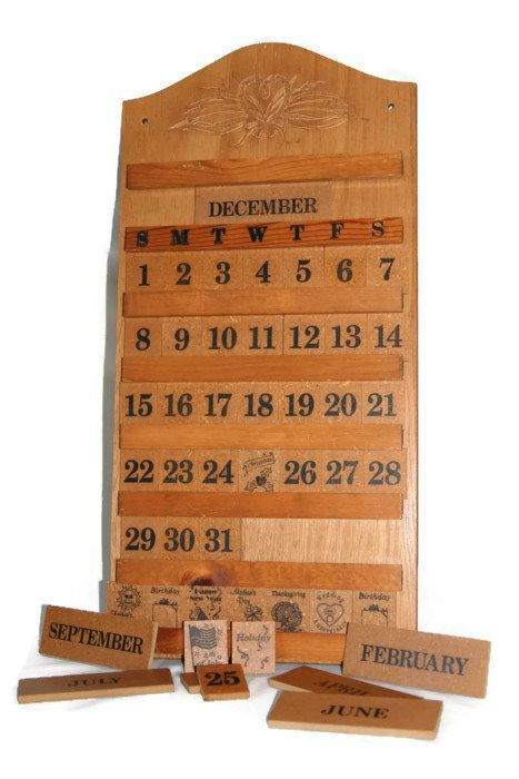 Perpetual Calendar Wooden Wall Calendar Vintage Wooden