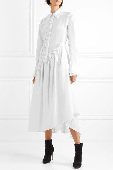 Petunia Asymmetric Ruffled Cotton Midi Dress - White Preen Shop For Sale l7r0W