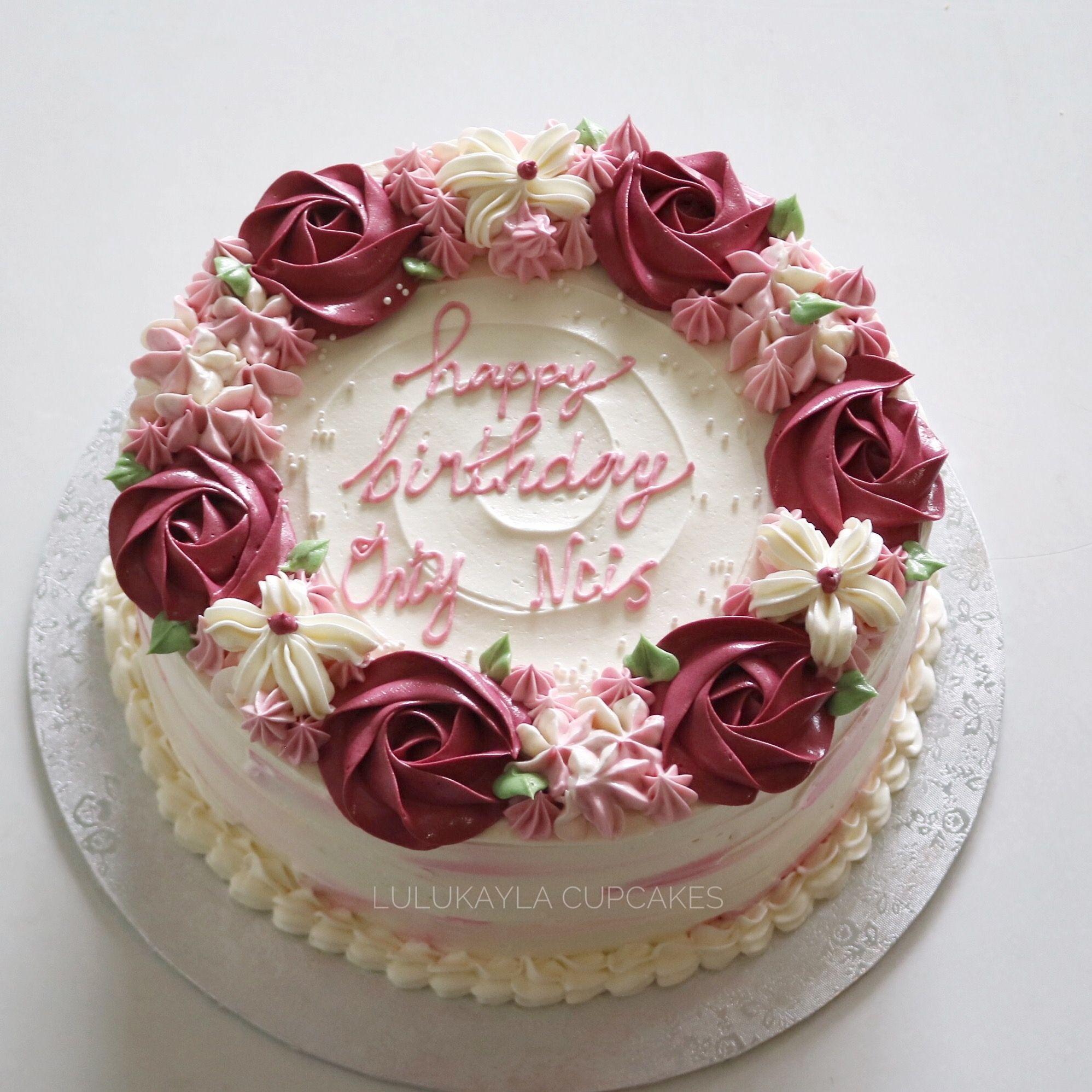 Rose Flower Buttercream Cake Cake Creative Cakes Buttercream Cake