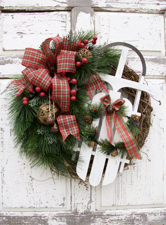 Sled Wreath Rustic Christmas Wreath Farmhouse Christmas Wreath