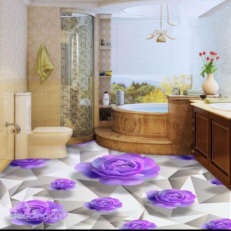 Purple Roses 3D White Waterproof Floor Wall Murals