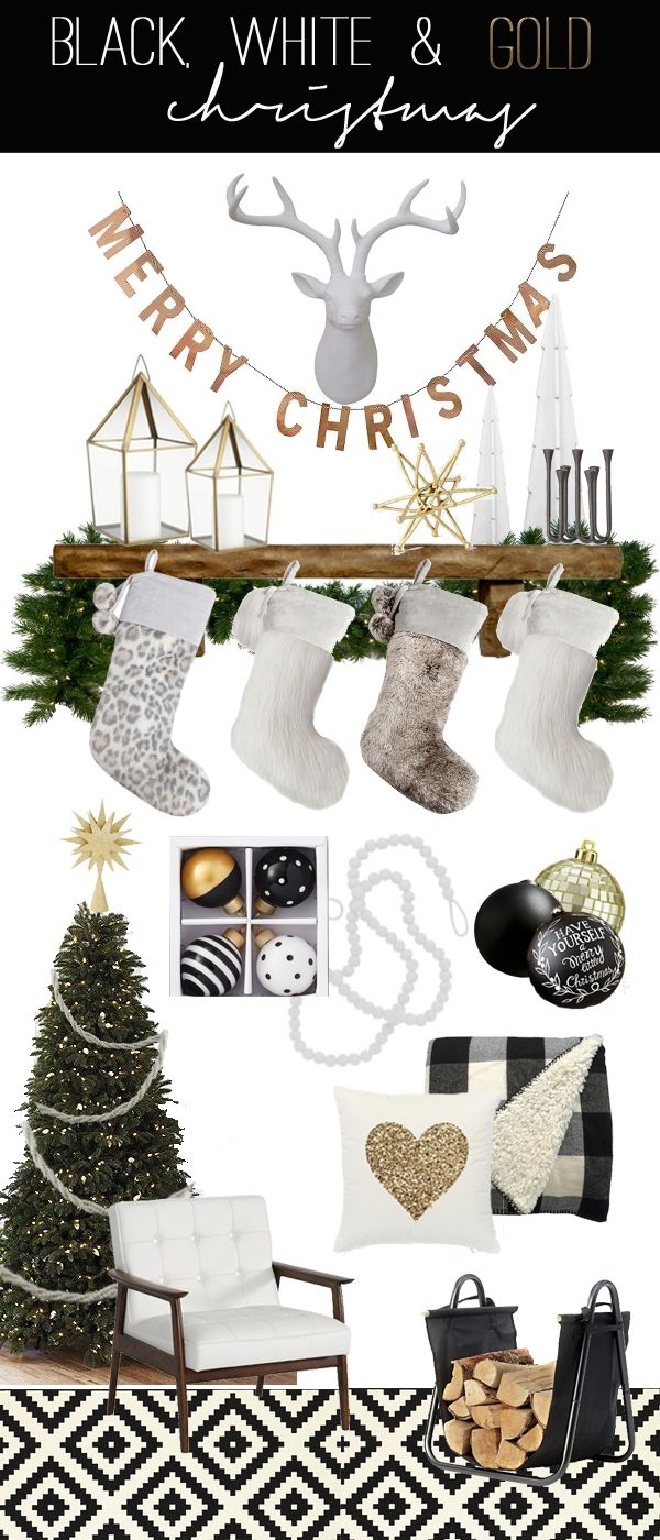 Black, White & Gold Christmas | Holidays | Pinterest | Christmas ...