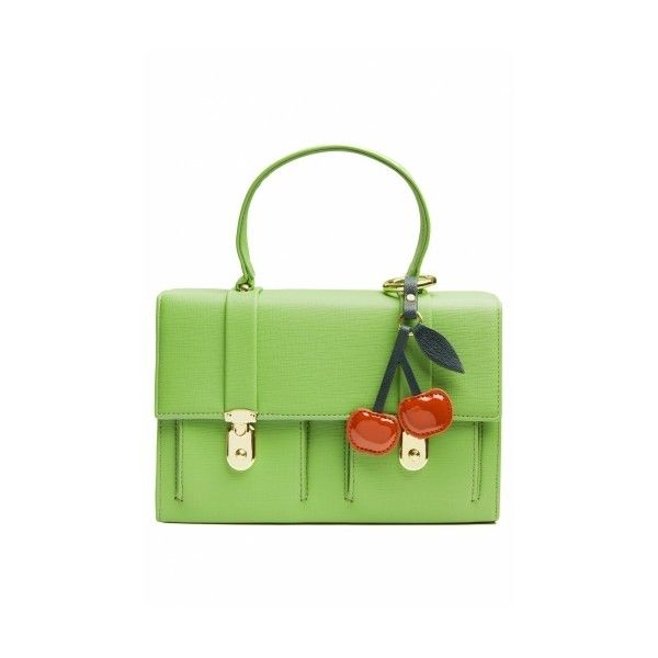 Edith Ella 60s Sweet Green Cherry handbag (£62) ❤ liked on Polyvore featuring bags, vintage leather bag, pocket bag, summer bags, genuine leather bag and leather bags