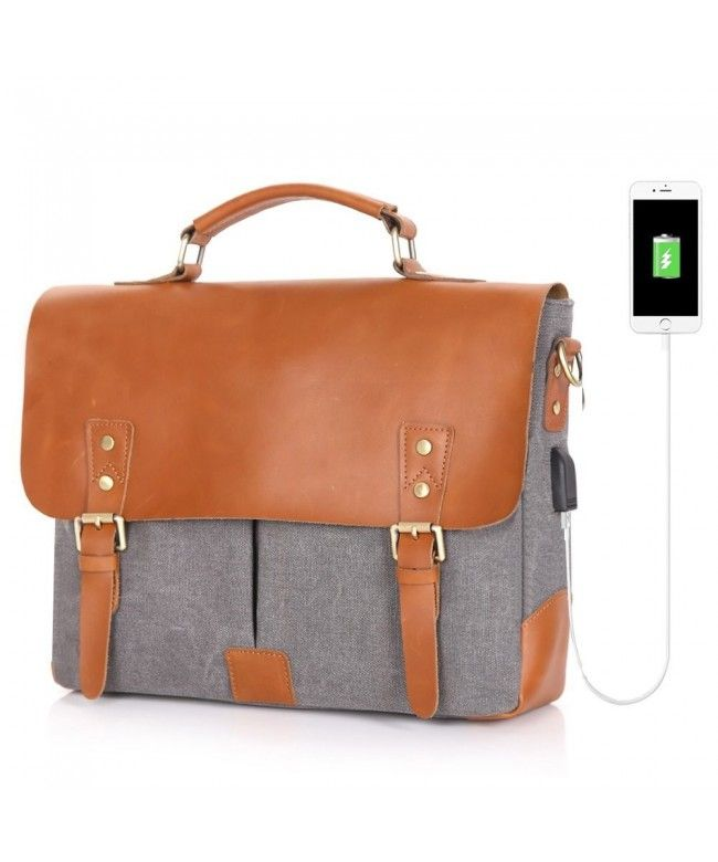 c94912a24 Messenger Charging Vintage Briefcase Crossbody - Gray - CW186TU3MG6 #Bags  #handbags #gifts #Style #Messenger Bags