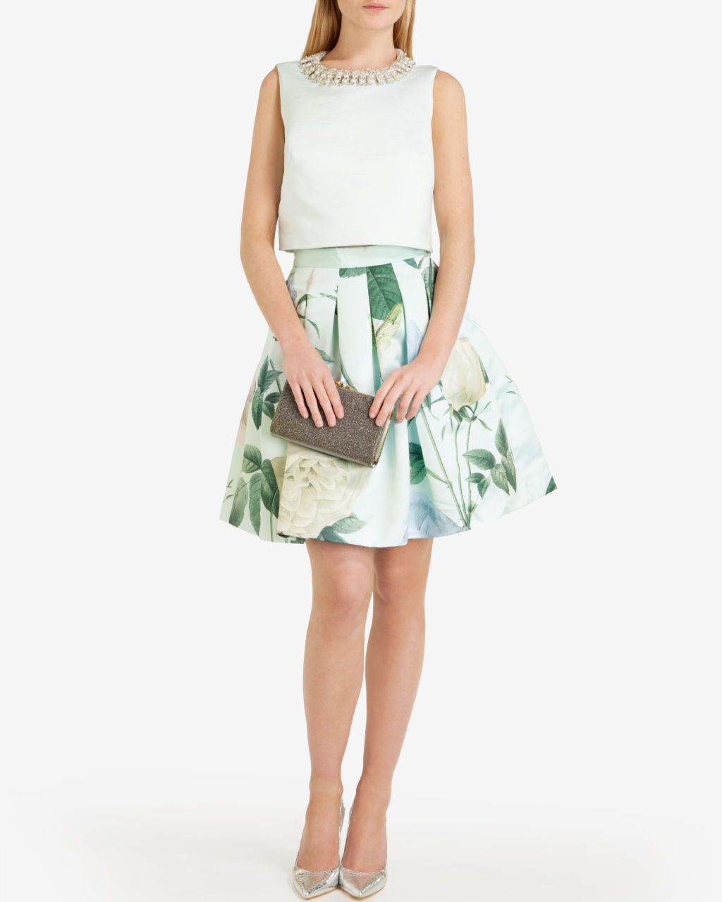 Pleated distinguishing rose skirt - Mint | Skirts & Shorts | Ted Baker
