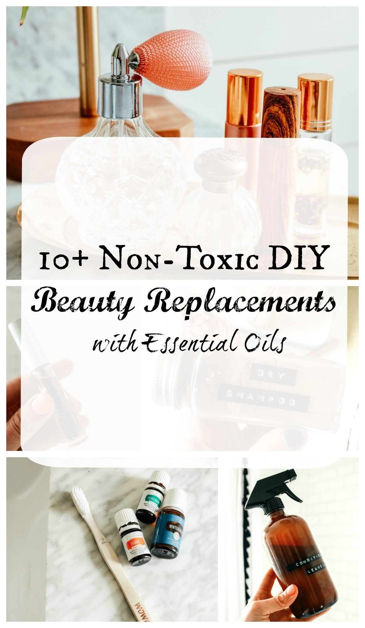 10  Non-Toxic DIY Beauty Replacements using Essential Oils | Nesting with Grace | I've replaced so many of my beauty and household products with all-natural essential oil substitutes. Come explore how I make dry shampoo, eyelash boost serum, teeth whitener, and hair treatment using products that are safe for my family. #essentialoils #naturalbeauty