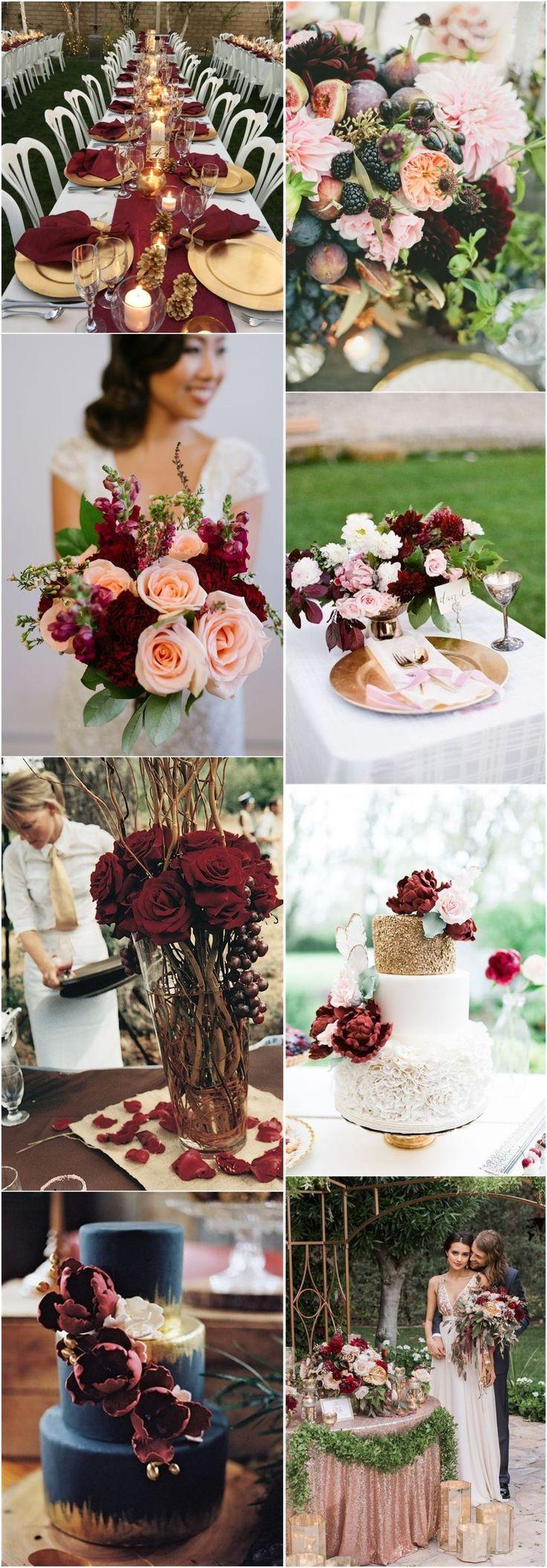 22 Romantic Burgundy and Rose Gold Fall Wedding Ideas #fallweddingideas