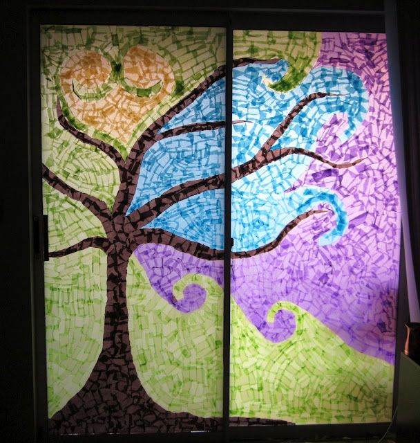 How to: create a window mosaic. I am so going to do this to  my dining room windows!