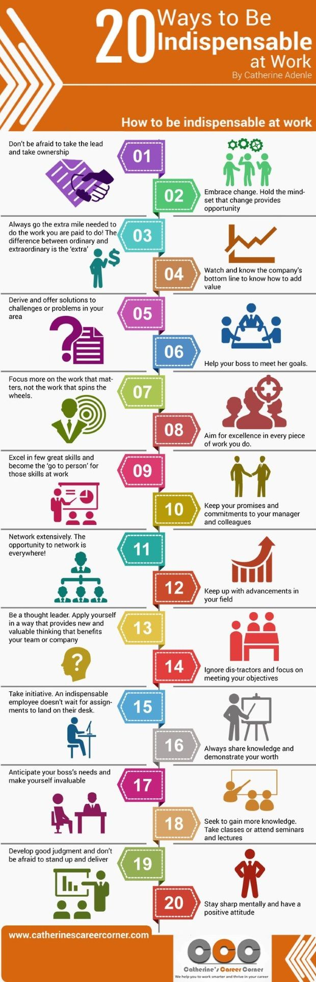 20 Ways to be Indispensable at Work - great ways to think about how to make your current role a challenge.
