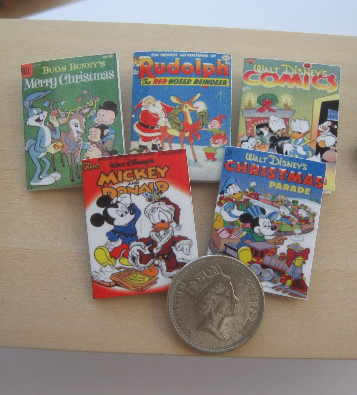 dollhouse chrismas comics mickey bugs vintage style 12th scale miniature by Rainbowminiatures on Etsy