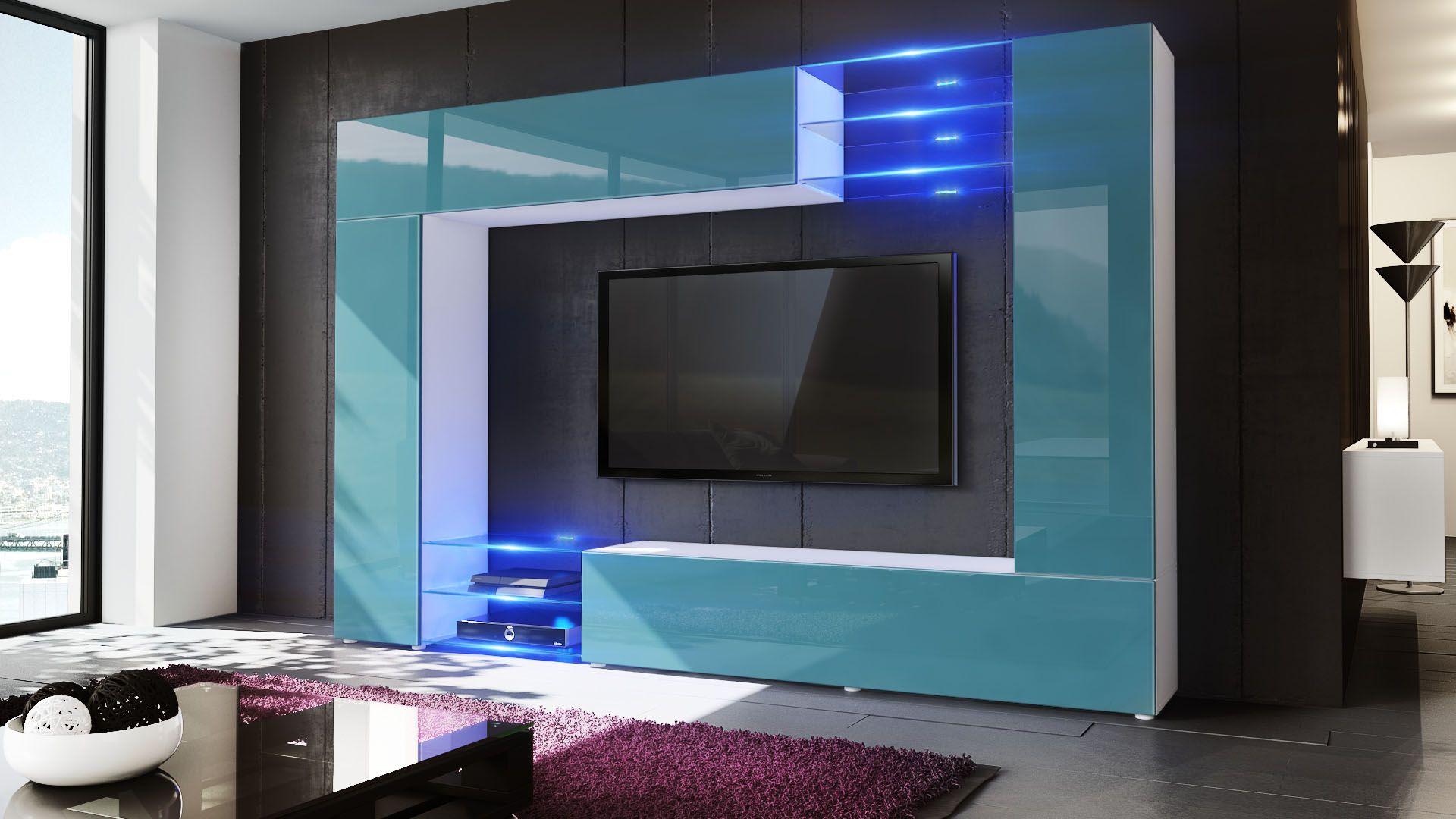 Mirage Wohnwand Einzigartiges Design Mit Hochglanzfronten Glasboden Und Optionaler Led Beleuchtung Von Vladon De Wohnwand Schrankwand Wohnen