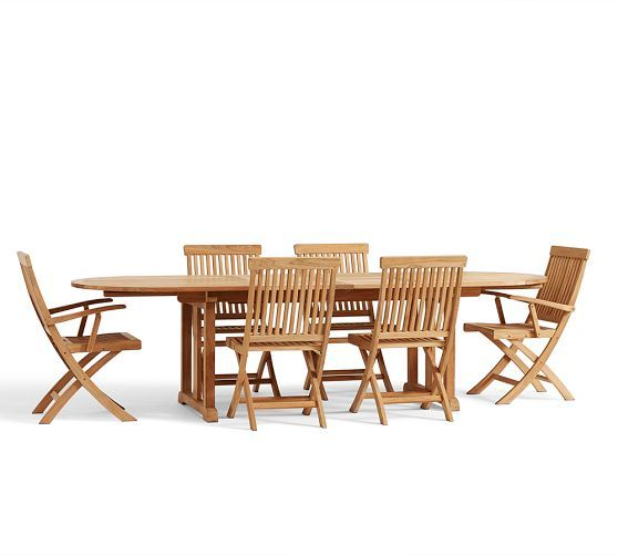 Vermont Extendable Garden Table And Chair Set: Larkspur Teak Oval Extending Dining Table & Chair Set
