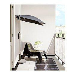 Umbrella With Base Bramsön Flisö Black Outdoor Spaces Balconi