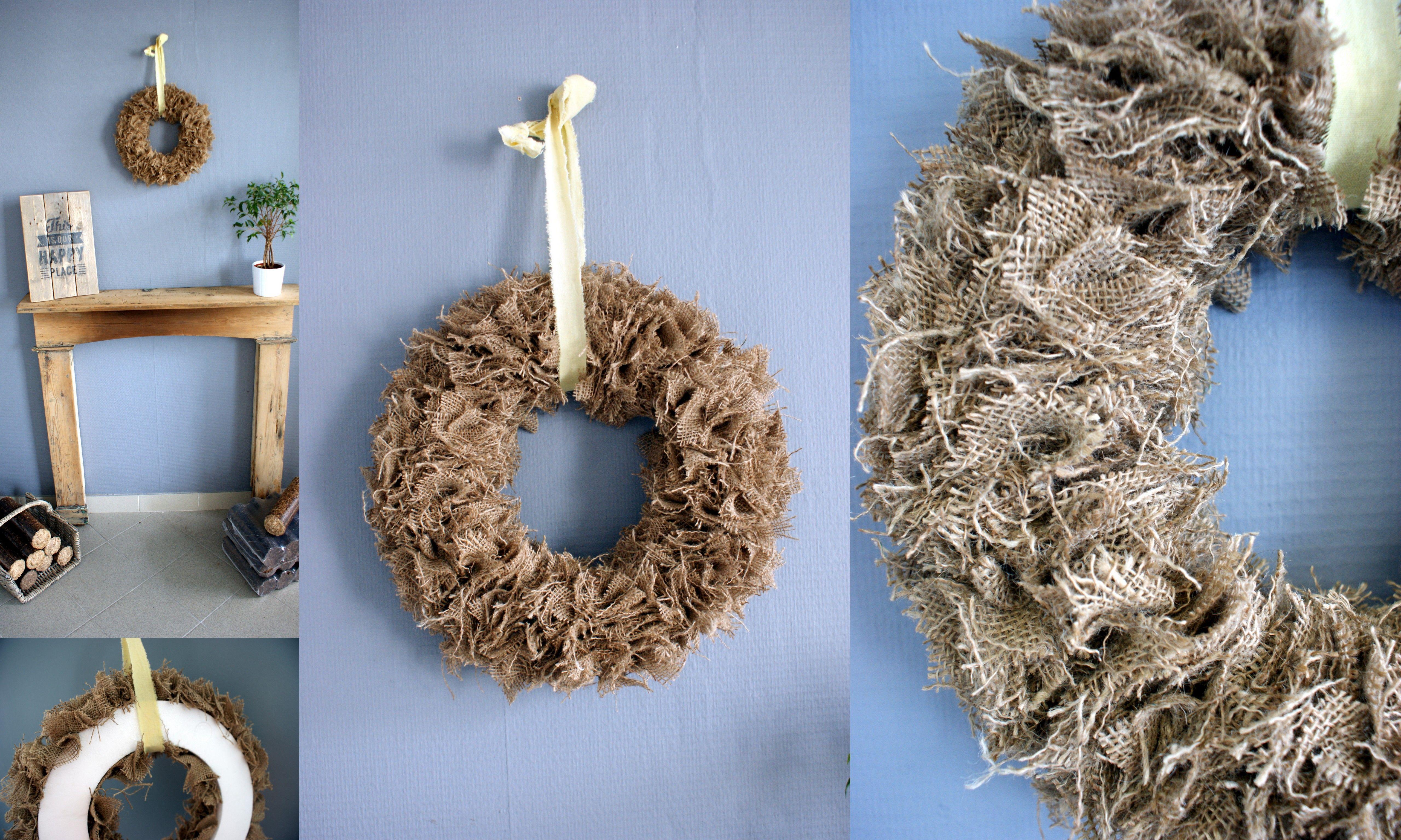 diy deco couronne en toile de jute r alis e avec un sac de pomme de terre facile et rapide. Black Bedroom Furniture Sets. Home Design Ideas