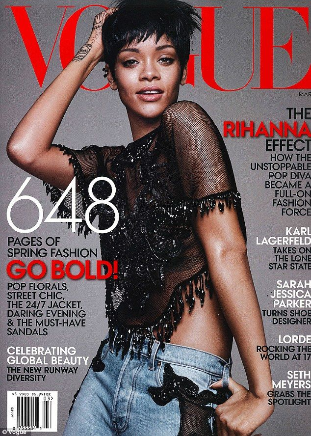 Rihanna stuns on the March 2014 cover of Vogue in a sheer crop top and light denim blue jeans