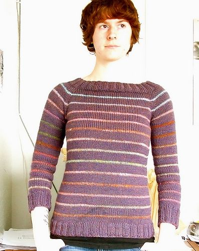 Candy-Striped Raglan Sweater pattern by Jenn Pellerin | tejidos de ...