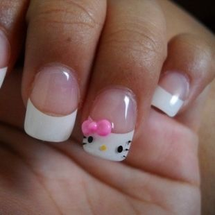 Super Cute Hello Kitty Nail On French Tip My Style Pinterest