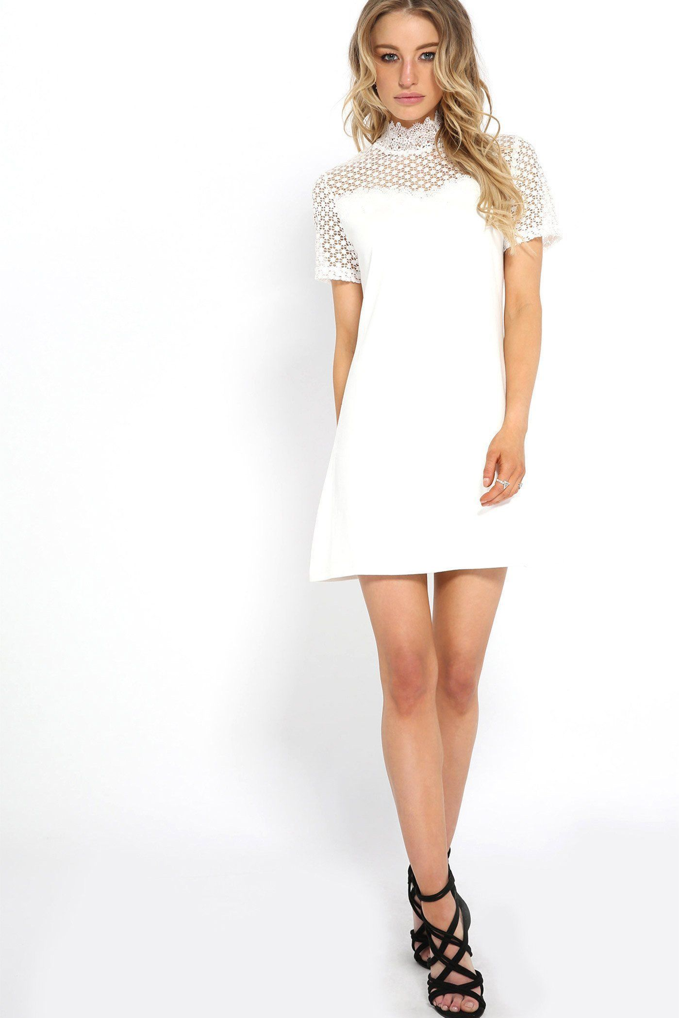 8e52059cc4 White Crochet Trim Suede Effect Shift Dress