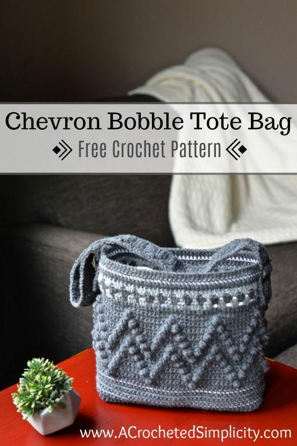 Chevron Bobble Tote Bag - Patrón de ganchillo gratis - Una simplicidad de ganchillo