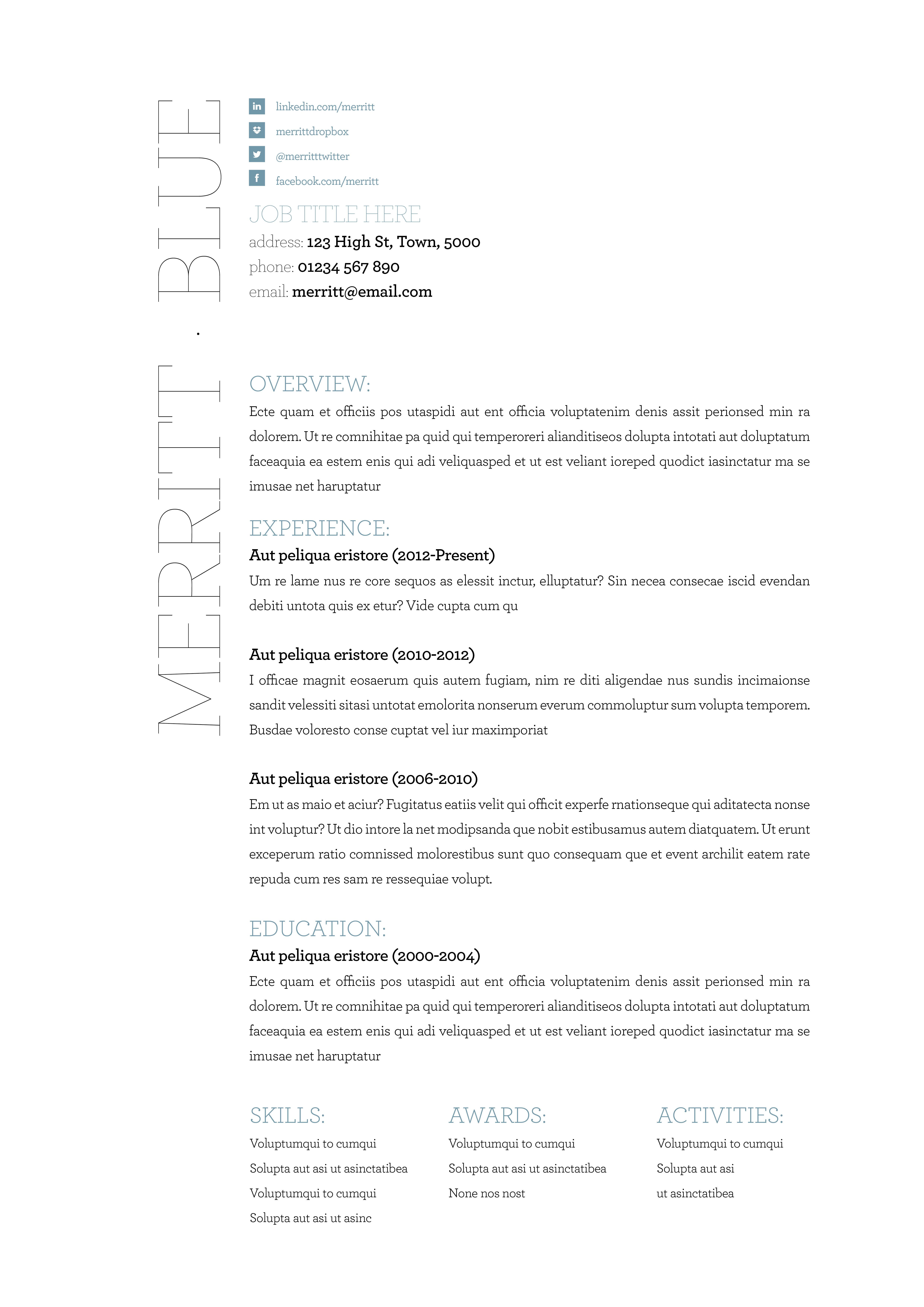 Our Merritt resume template. Available in blue, orange and