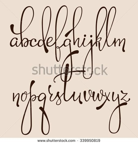 Handwritten Pointed Pen Ink Style Decorative Calligraphy Cursive Font Alphabet Cute Letters Isolated Letter Elements