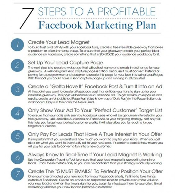 7 steps to a profitable Facebook marketing campaign Small Biz - marketing plan template