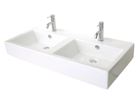 One large bathroom sink with 2 faucets | Home Decor | Pinterest ...