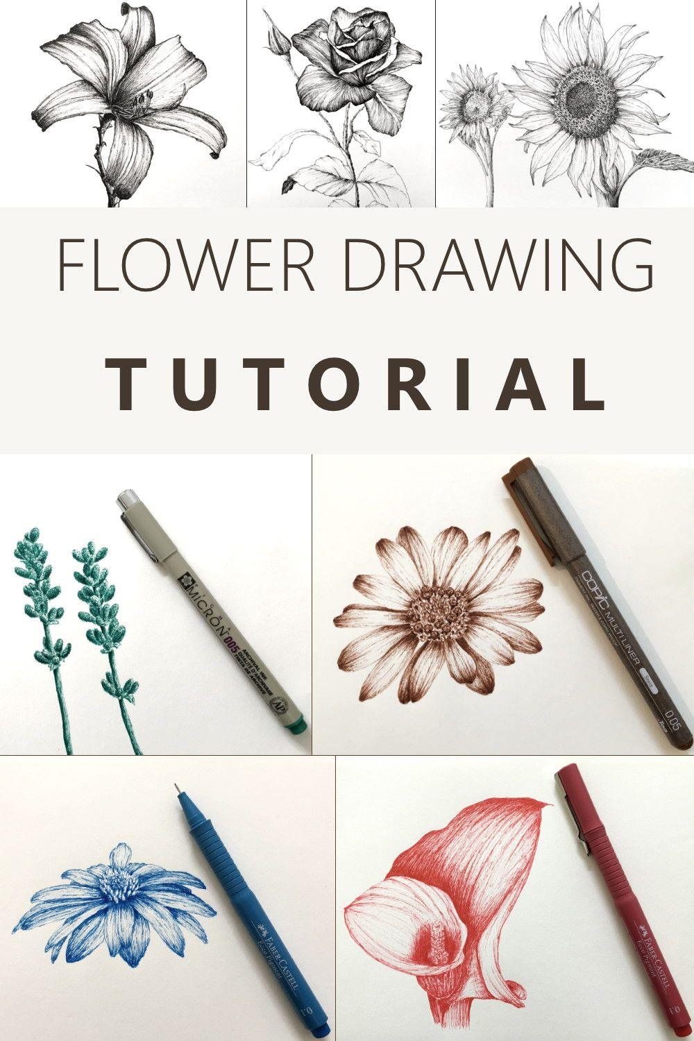 How to Draw Flowers in 2020   Flower drawing, Flower ...