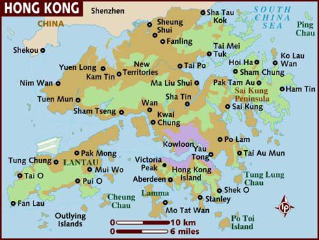 hong kong map, map of hong kong's islands