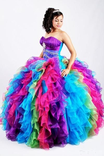 2924d54f02a European root yarn Ball Gown Rainbow Quinceanera Dresses Puffy Organza  Bling Crystal Sequins Sweet 16 Gown Pageant Dress Princess Corset Prom  Dresses