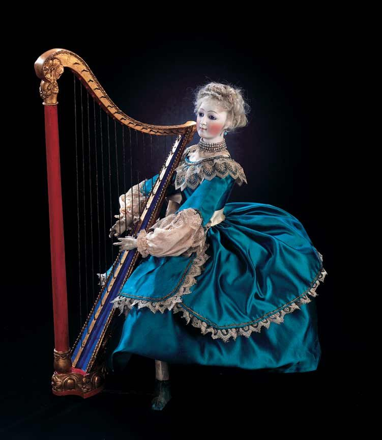 """French Musical Automaton """"Elegant Lady Harpist""""Attributed to Theroude. http://Theriaults.com"""