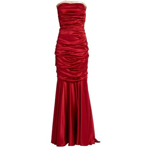 Dolce & Gabbana Ruched strapless silk-blend satin gown (18.840 DKK) ❤ liked on Polyvore featuring dresses, gowns, long dress, strapless evening gown, satin evening dresses, red ball gown, maxi dress and red evening gowns