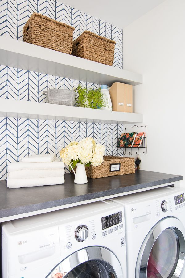 Wallpapered Laundry Room Yellow Laundry Rooms Laundry Room