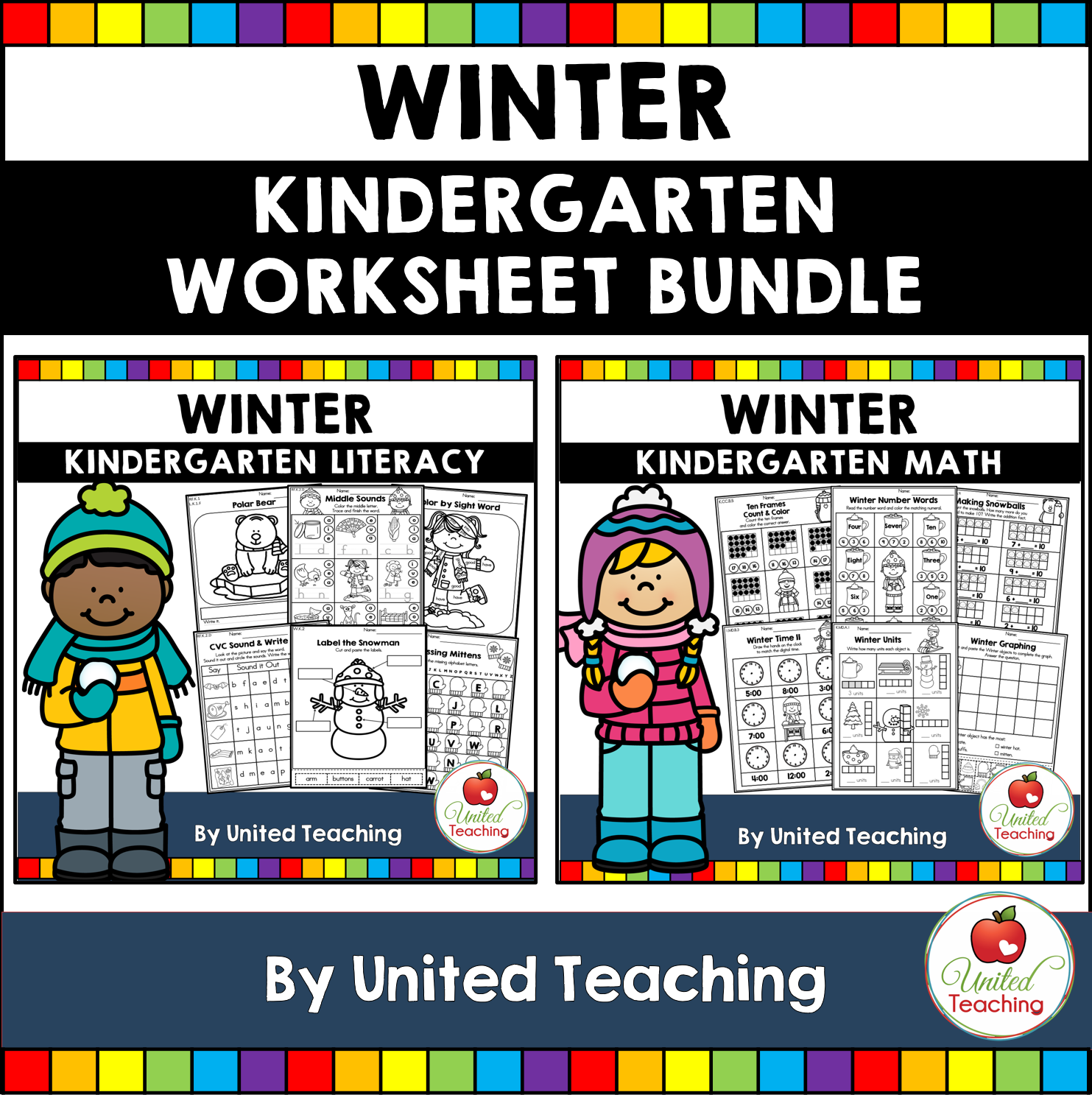 Winter Math And Literacy Kindergarten No Prep Activities