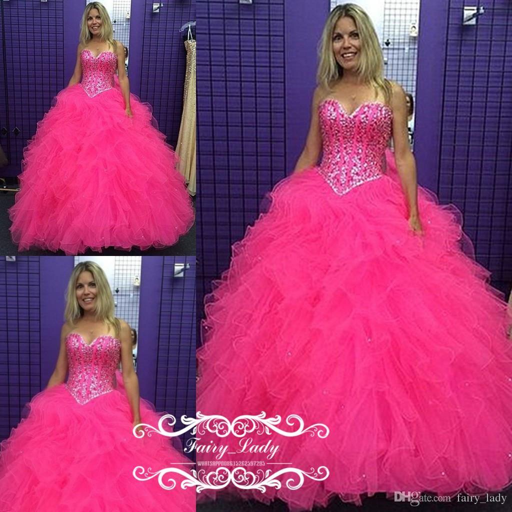 4613335c66 Luxury Silver Rhinestone Crystal Hot Pink Quinceanera Dresses ...